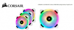 Corsair Light Loop Series White Ll120 Rgb 120Mm Pwm Fan 3 Fan Pack With Lighting Node Pro. Two