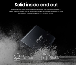 Samsung Portable Ssd T5 1Tb Usb3.1 (Gen2) Type-C Up To 10Gbps Shock Resistant 3 Years Warranty Mu-Pa1T0B/Ww