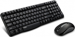 Rapoo X1800s 2.4ghz Wireless Optical Keyboard Mouse Combo Black - 1000dpi Nano Receiver 12m Battery