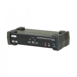 Aten 2 Port Usb 3.0 4K Displayport Kvmp Switch W/ Built-In Mst Hub 1 Hdmi And 1 Dp Output Cs1922M-At-U
