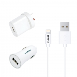 Mbeat 3-in-1 Mfi Usb Lightning Charging Kit (1m Lighting To Usb Cable + 2.1a Car & Wall Charger)