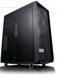 "Fractal Design Mid Tower Case : MESHIFY C Blackout Tinted Tempered Glass 2x 3.5"" 3x 2.5"" 2x GP-12"