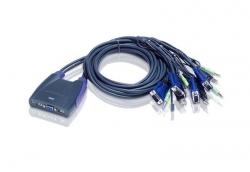 Aten 4-Port USB VGA/Audio Cable KVM Switch (0.9m, 1.2m)  (CS64US)