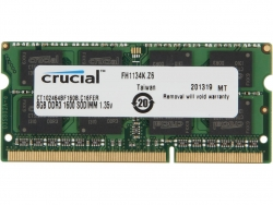 Crucial Single Channel So-dim: 8gb Ddr3 1600mhz Mt/ S (pc3-12800) Cl11 204pin Dualvoltage 1.35v/