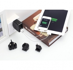 Huntkey Travelmate D204 Multi Plugs Usb Wall Charger Adapter 4.2 A Us Uk Eu Au Plugs With Car Charger