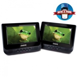 "Laser DVD Player Dual In Car 7"" with Bonus Pack (headrest mounts and earphones) DVD-PORT7-DUALC"