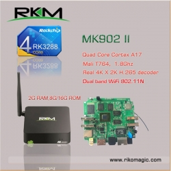 Rkm Mk902ii 16g Smart Tv Box Quad Core Rk3288 Android 4.4 2g 16g Wifi Bt4.0 Elerkmmk902ii16g