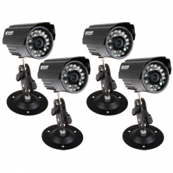 Kguard 4 Pcs Ir Weather Proof Colour Camera For Dvr Kit, With Power/ Wire S/cam/h02