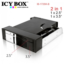 Icybox Ib-172sk-b, Two In One, 2bay Mobile Rack For 1x2.5 Inc + 1x 3.5 Inc Sata Hdd To 2 Sata