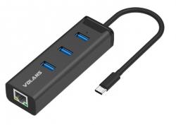 VOLANS Aluminium Usb-c To 3-port Usb3.0 Hub + Rj45 Gigabit Ethernet Adapter (hj45-c) Vl-hj45-c