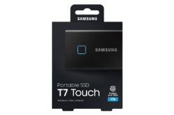Samsung T7 Touch Portable Ssd 1Tb Usb3.2 Type-C R/W(Max) 1 050Mb/S Aluminium Case Fingerprint Password Security Black 3 Years Warranty Mu-Pc1T0K/Ww