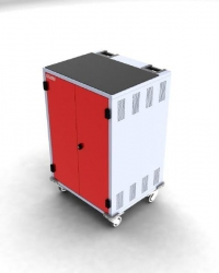 Gilkon Lcmt-30 - 30 Bay Pc Vault Trolley W/ Eco System - Red Doors 2 Lcmt-30 (Red)