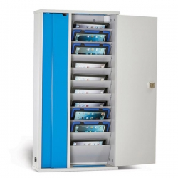 """Lapcabby 10-Device Wall Mounted AC Charging Cabinet for Tablets up to 11"""" - Vertical (LYTE10WD)"""