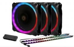 Antec Prizm 120 Argb 3+2+c 3x Rgb Dual Ring Pwm Fan 2 X Led Strip And 1x Rgb Fan Controller