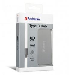 Verbatim USB-C Hub - 1x HDMI, 2x USB3.0 - Grey 66123