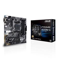 AMD A520 (Ryzen AM4) micro ATX motherboard with M.2 support, 1 Gb Ethernet, HDMI/DVI/D-Sub, SATA 6 Gbps, USB 3.2 Gen 1 Type-A (PRIME-A520M-A/CSM)