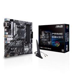 ASUS AMD B550 PRIME B550M-A (WI-FI) (Ryzen AM4) mATX MB, Dual M.2, PCIe 4.0, WiFi 6, 1Gb LAN, HDMI/D-Sub/DVI, SATA 6G, USB 3.2 Gen 2 A, Aura Sync (PRIME B550M-A (WI-FI))