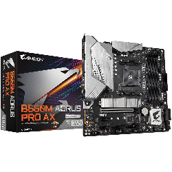 Gigabyte B550M AORUS PRO AX AMD Ryzen M-ATX Motherboard, 4x DDR4 ~128GB, 2x PCI-E x16, 1x PCI-E x1, 2x M.2, 4x SATA3, GA-B550M-AORUS-PRO-AX
