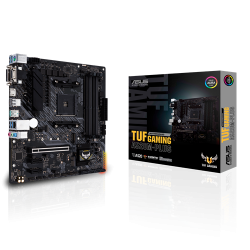 Asus AMD A520 (Ryzen AM4) micro ATX motherboard with M.2 support, 1 Gb Ethernet, HDMI/DVI/D-Sub, SATA 6 Gbps, USB 3.2 Gen 2 Type-A, and Aura RBG lighting (TUF-GAMING-A520M-PLUS)