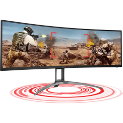 AOC 49' AGON Curved 1800R, DQHD 5K 5120 x 1440, VA, Freesync 2, HDR400, 120Hz,1ms, 2H, 2DP, USB-C, Speaker, HAS, Top of Line Gaming Monitor (AG493UCX)