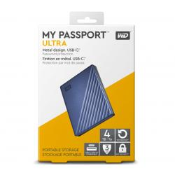 Western Digital 4TB WD My Passport Ultra USB-C Portable HDD WDBFTM0040BBL-WESN, Password Protection