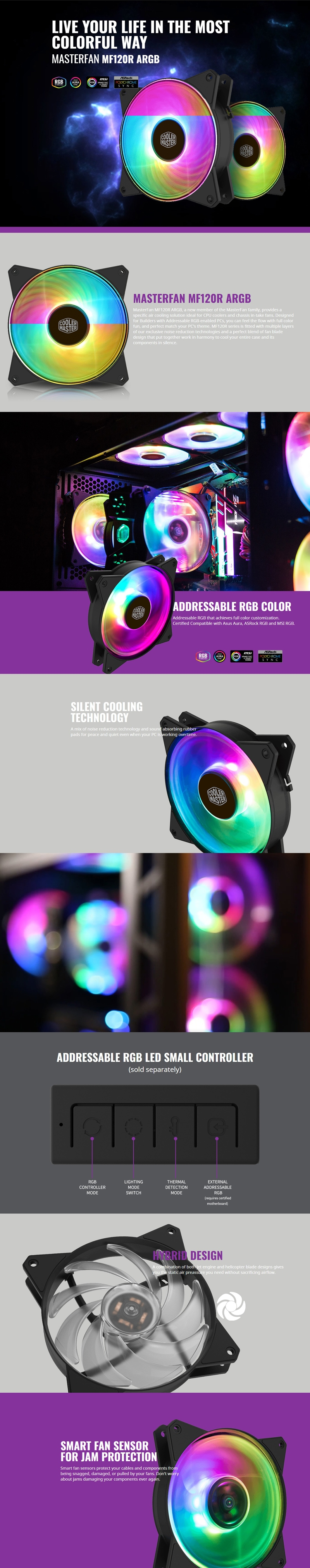 Coolermaster Masterfan 120mm Addressable Rgb Fan Support Cm Plus Software  Control R4-120r-20pc-r1