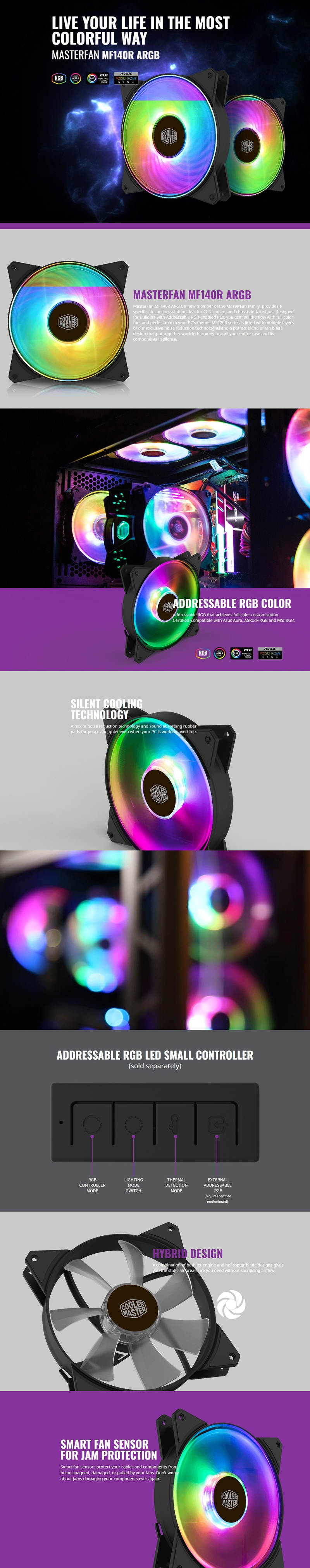 Coolermaster Masterfan 140mm Addressable Rgb Fan Support Cm Plus Software  Control R4-140r-15pc-r1
