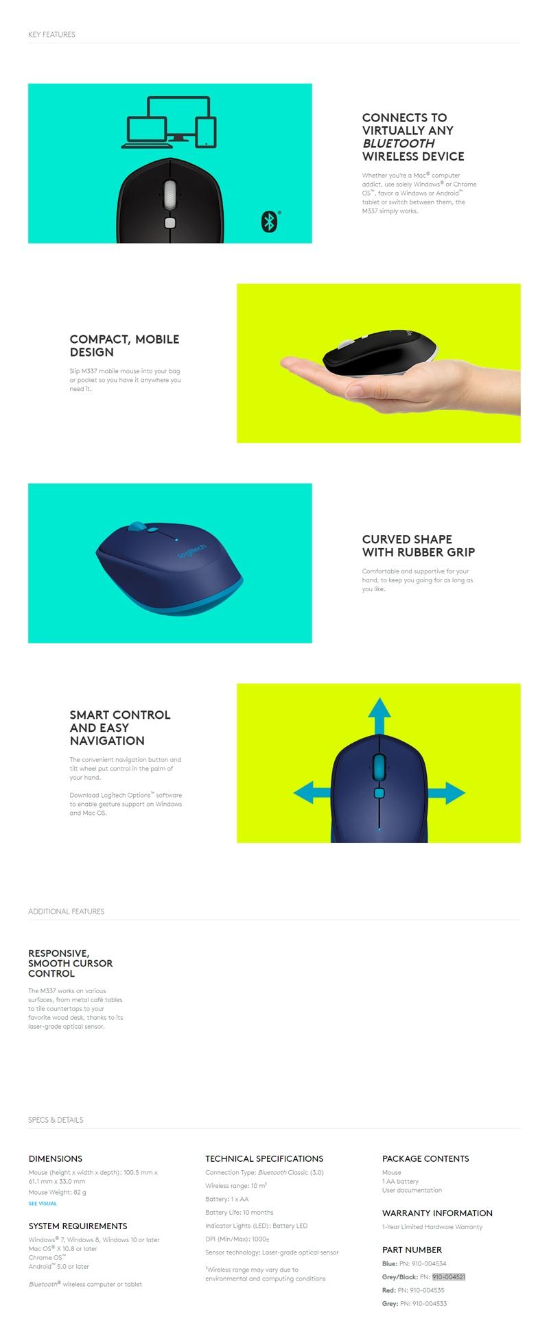 Logitech M337 Bluetooth(R) Mouse - Blue-2 910-004534